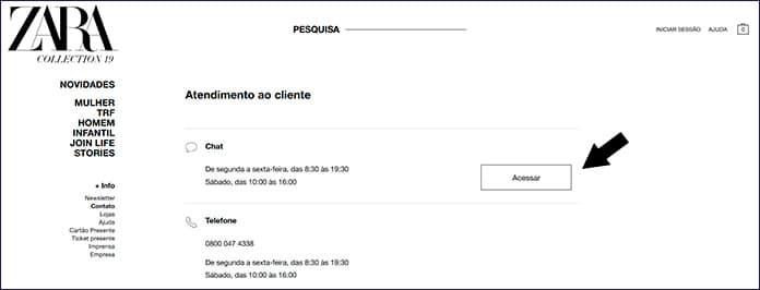 Chat da Zara Brasil