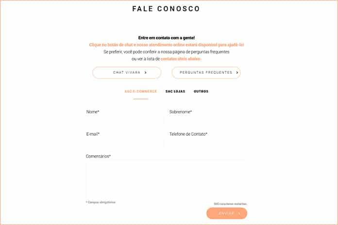 """Formulário """"Fale Conosco"""" da Vivara.com.br"""