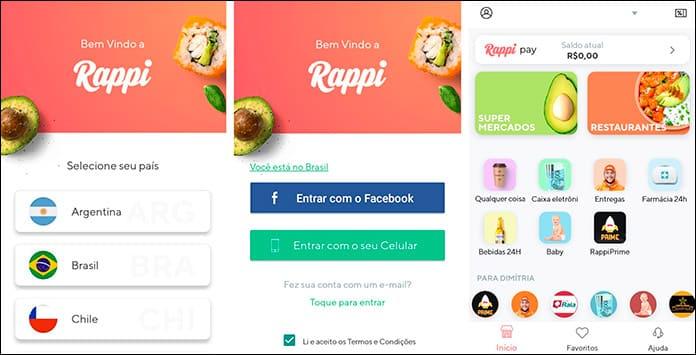 Print da Interface do Aplicativo Rappi