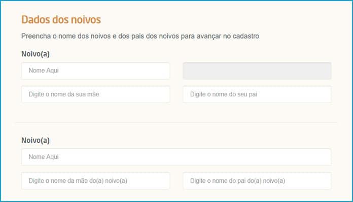 Lista de Casamento das Casas Bahia - Dados dos Noivos