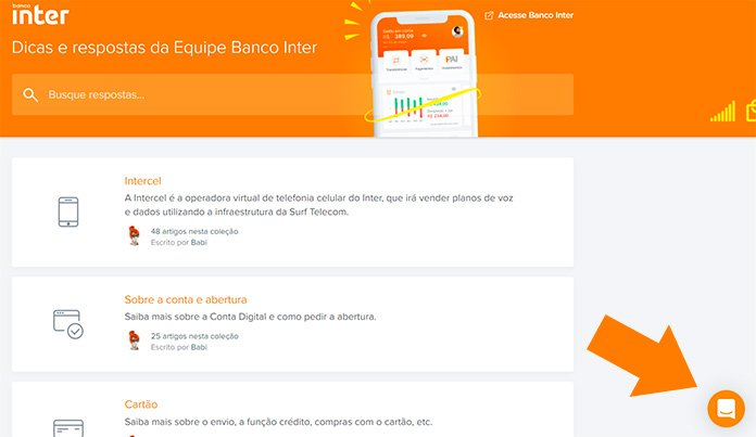 Chat do Banco Inter